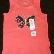 Pink Tank Top with Butterfly-NEW-Jumping Beans Size 6X