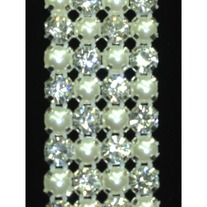 Crystal and Pearl Trim (4 row) (mesh backing)(yd)