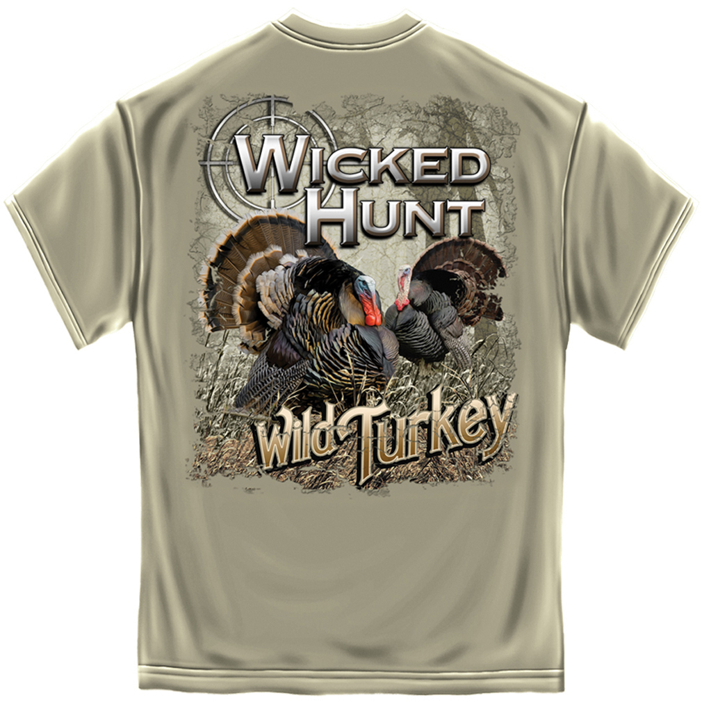 New wicked hunt trophy wild turkey hunter double side for Shirts made in turkey
