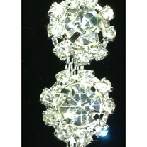 Crystal Sparkly Trim Flower pattern(chain backing)(yd)