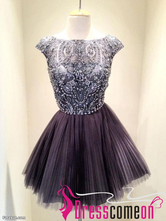 Sexy High Neck Silver Gray See Through Prom Dress,Tulle Evening ...