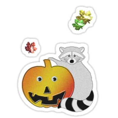 Halloween raccoon sticker