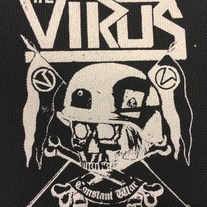 The Virus - constant war - white on black patch medium photo