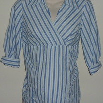 Blue/Green/White Stripe Shirt with Collar-Oh!Mamma Size Small