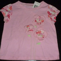 Pink Shirt with Flowers-NEW-First Impressions Size 24 Months