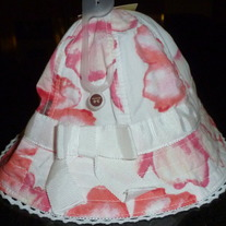 Pink Floral Hat with White Ribbon-NEW-Old Navy Size 3-6 Months