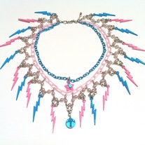 pink blue lightning thunder bolt necklace w pearl metal plastic chain