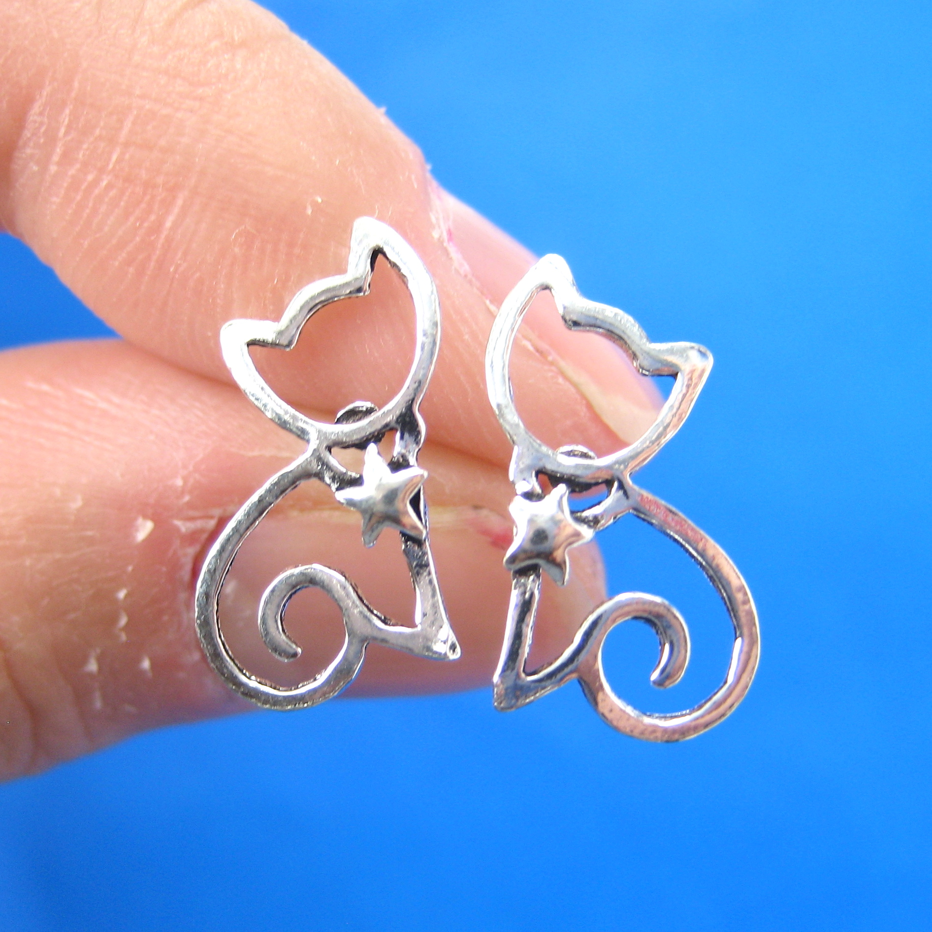 Small Kitty Cat Animal Stud Earrings With Star Detail In Sterling Silver