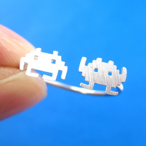 Atari Space Invaders Alien Pixel Adjustable Ring in Sterling Silver