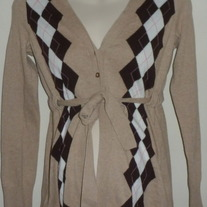 Tan/Chocolate/White Sweater with 2 Buttons and Tie-Old Navy Maternity Size XS   CLLO