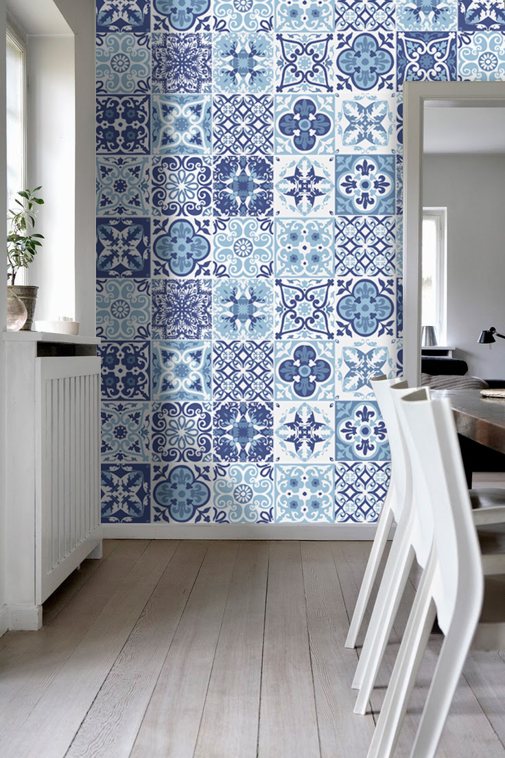 Blue Portuguese Tiles Cover Decal for Kitchen (Pack 48 ...