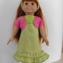 Green Summer Dress, green shirt, pink shrug, headband