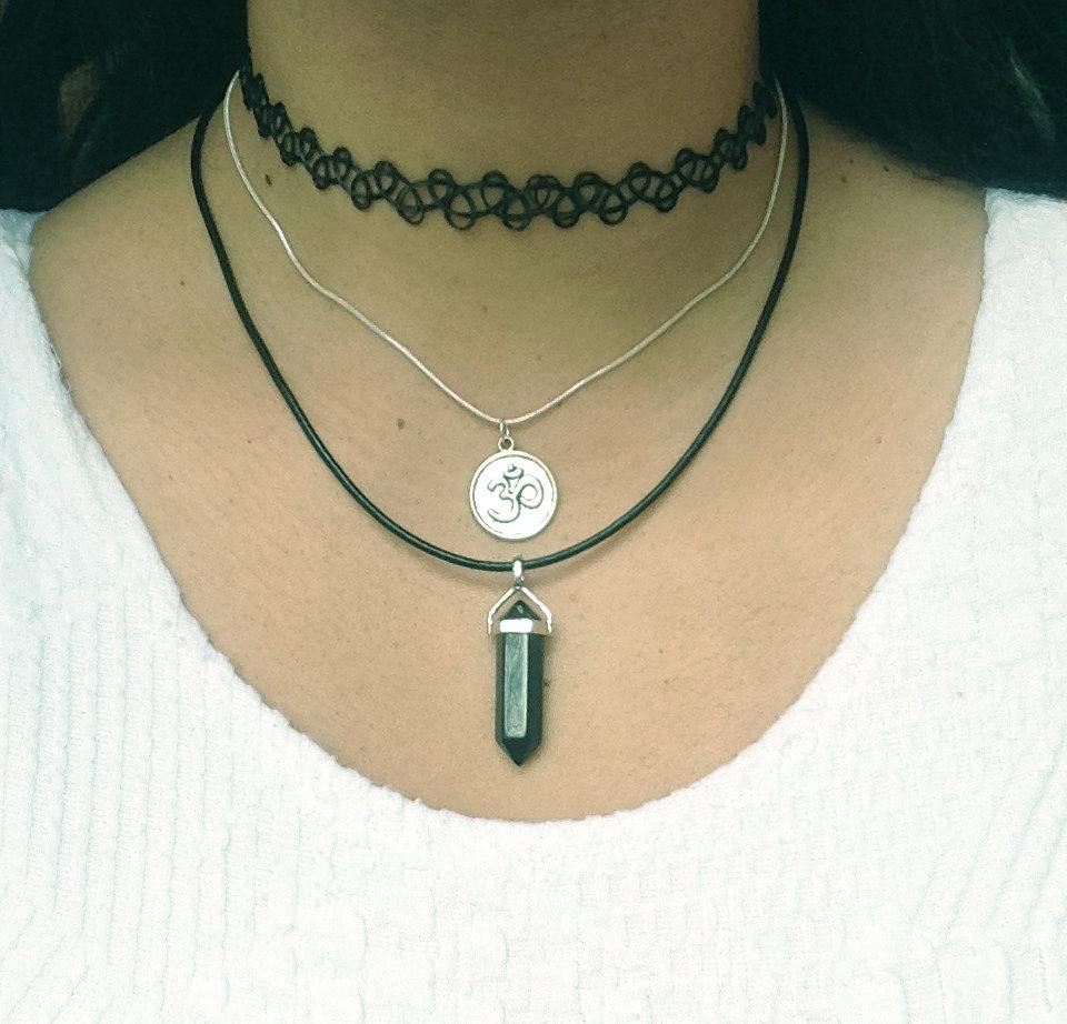 Choker Necklace Set Of 3 Stretch Necklace Om Symbol Necklace