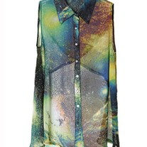 Galaxy Print Sleeveless chiffon Shirt