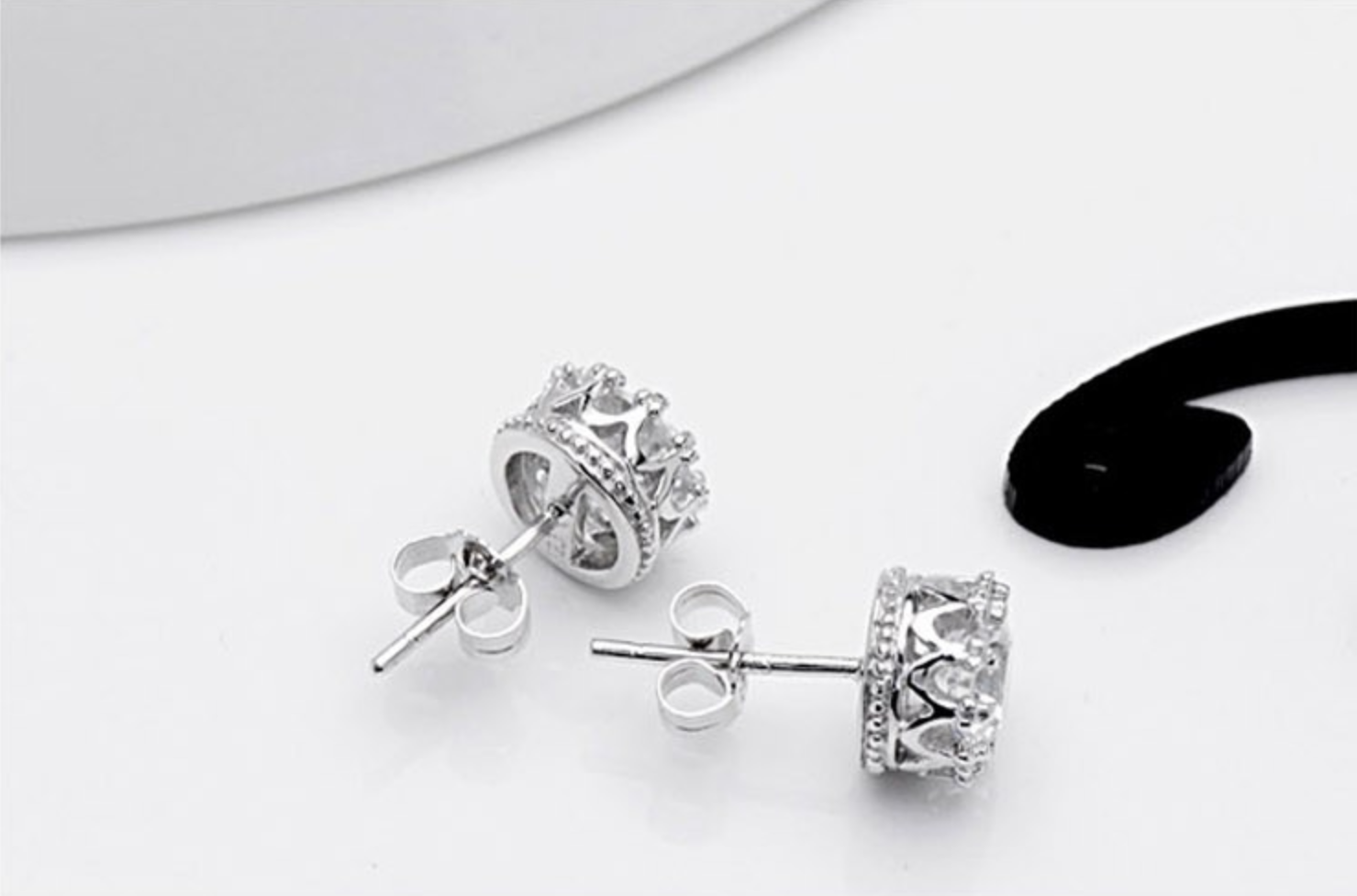 royal cz silver earrings crown stud sterling