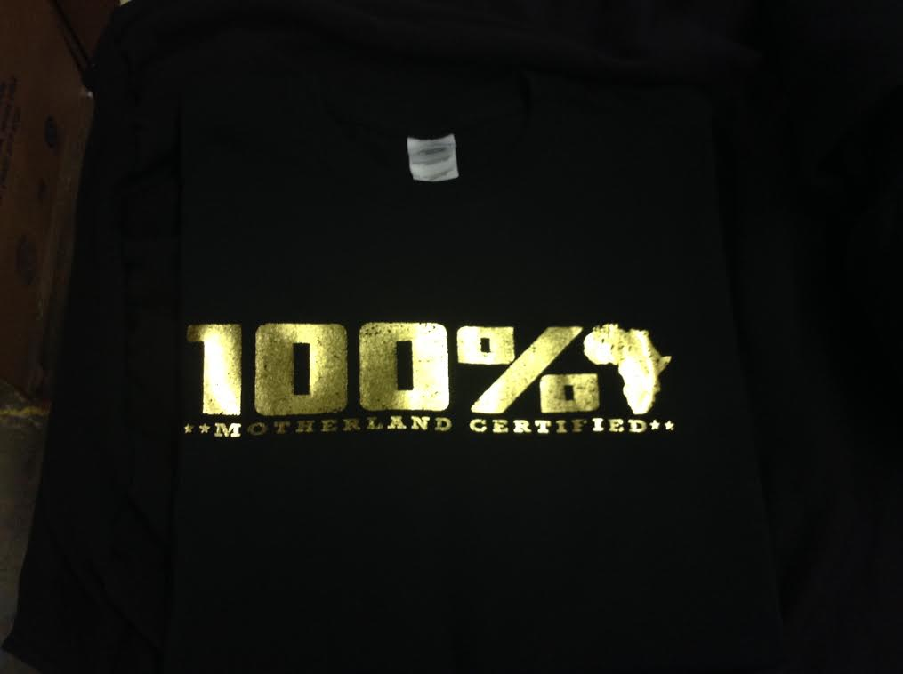 100 African Motherland Certified Gold Foil T Shirt Clothing By