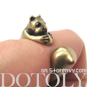 Miniature Squirrel Chipmunk Animal Wrap Ring in Bronze - Sizes 4 to 9