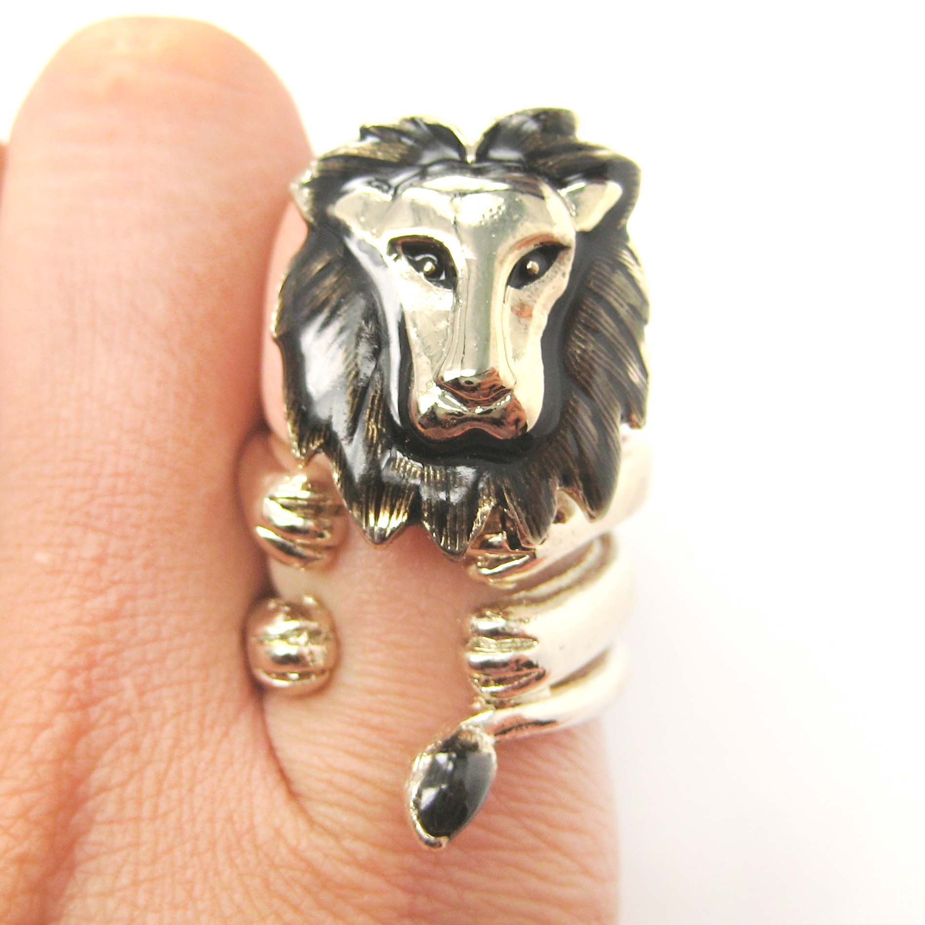 adjustable 3d tiger wrap around animal ring in shiny