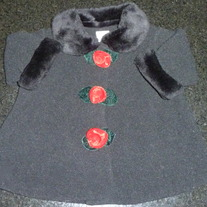 Black Coat with Roses-Starting Out Size 6 Months