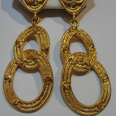 Vintage chanel textured earrings