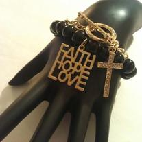 Faith, Hope, Love & Gold Cross Toggle Bracelet
