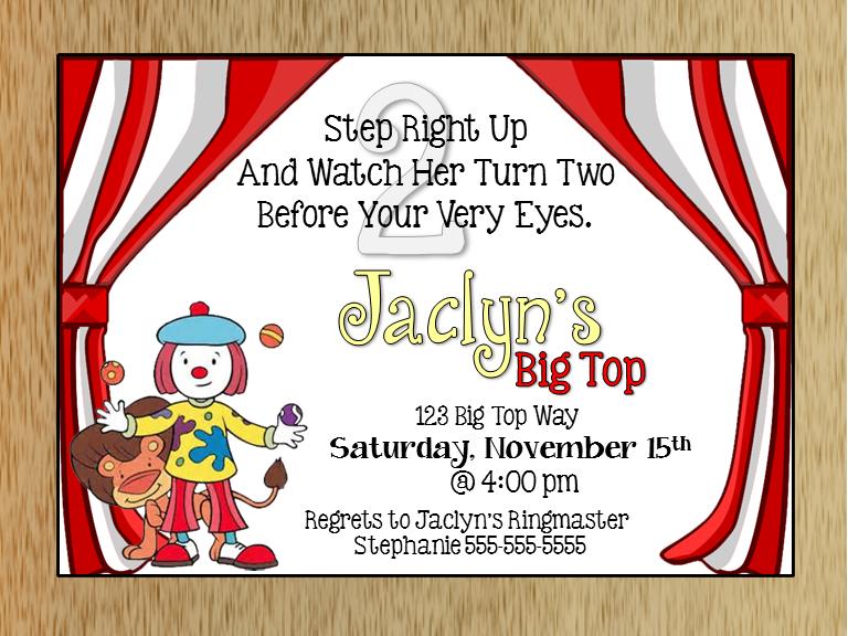 Jojos Circus Birthday Invitation MacAnne Designs Online Store – Circus Birthday Invitation