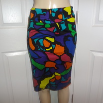 Vintage Colorful Pencil Skirt Size 4