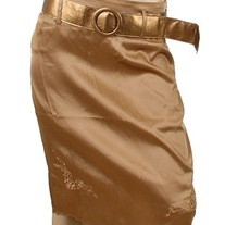 In S or M - Bronze Gold Flower Scallop Embroidered Rockabilly Pencil Skirt w Waist Belt