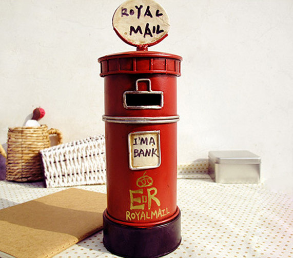 Vintage Retro Old Britain Royal Mail Money Box Coin Bank Vintage Home Decor