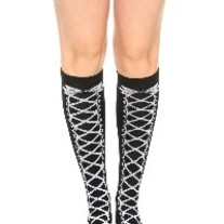Black White Ribbon Lace-Up Lolita Knee-High Socks