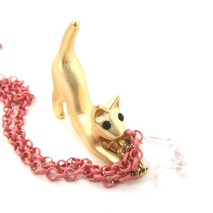 Kitty Cat Animal Charm Necklace in Gold on Pink Chain