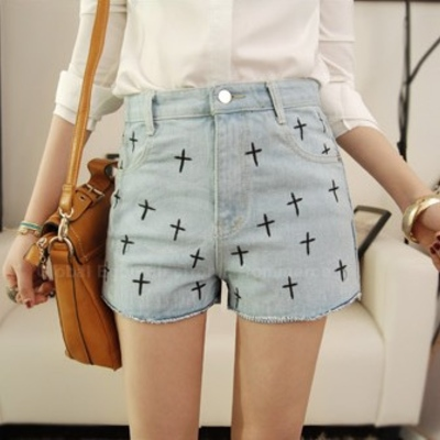 Middle rise cross printed denim
