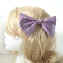 shimmery lavender purple pearl chain lolita side bow hair clip