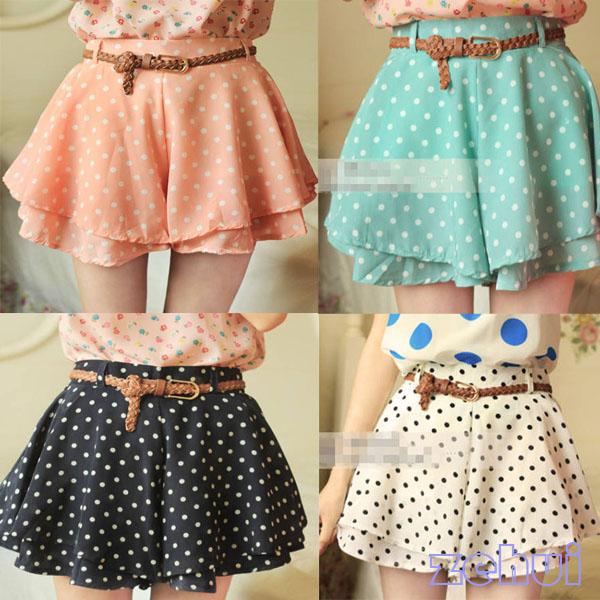 Candy Chiffon Polka Dot Skirt/Shorts/Skort with belt from Waxiis on Storenvy