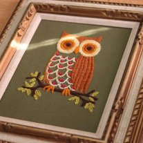 70s Owl Needlepoint Artwork