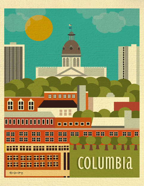 Columbia south carolina skyline poster southern travel - Home decor columbia sc set ...