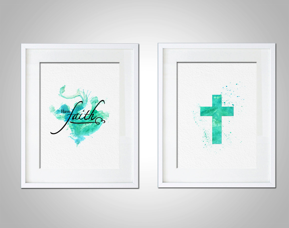 Watercolor Art Print Religious Christian Typography Set Of
