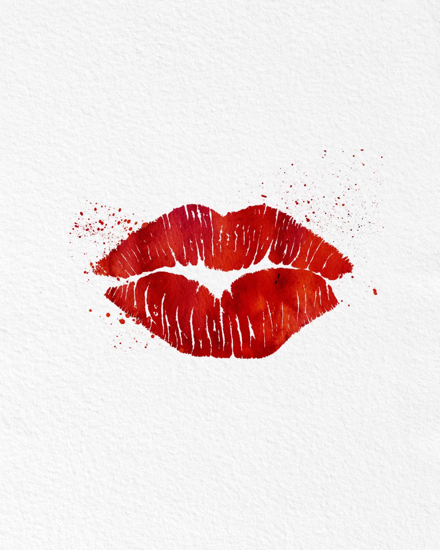 Watercolor art red hot lips gift modern 8x10 wall art for Lips wall art