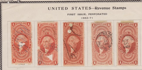 United States 1 00 Used Revenue Stamps First Issue