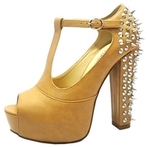 Tan Studded Mary Jane Stack Heel
