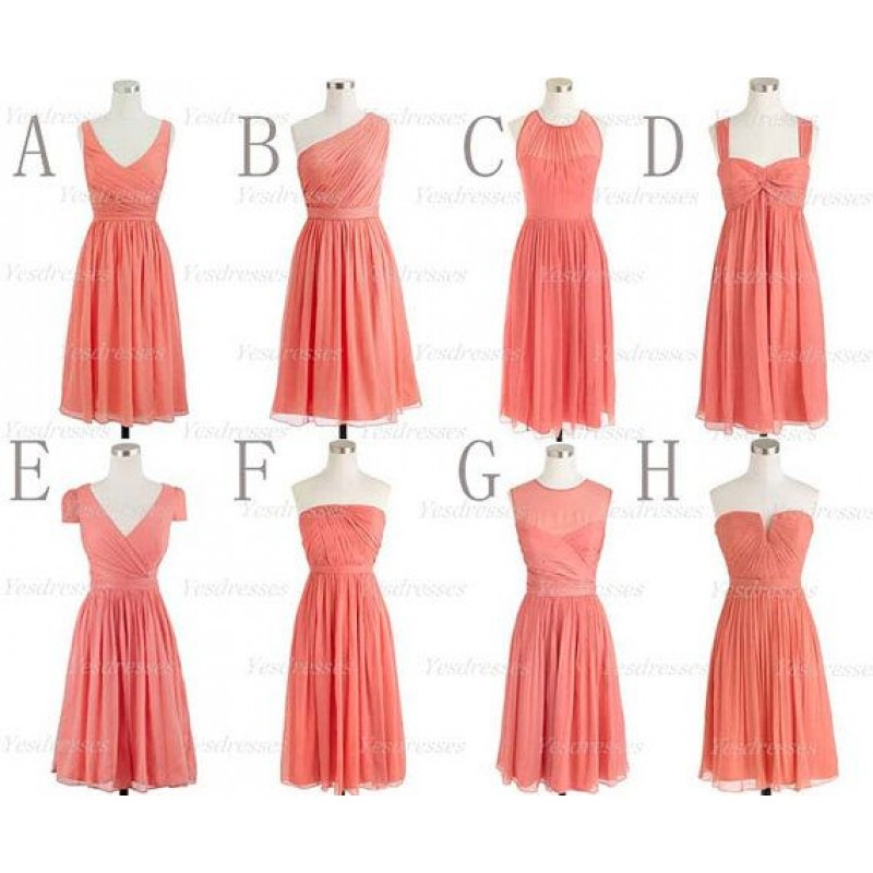 Coral Bridesmaid Dresses Short Bridesmaid Dresses