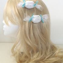 two white pink OR blue silver sparkle star tulle candy 2 way clips hair pins fairy kei brooch set