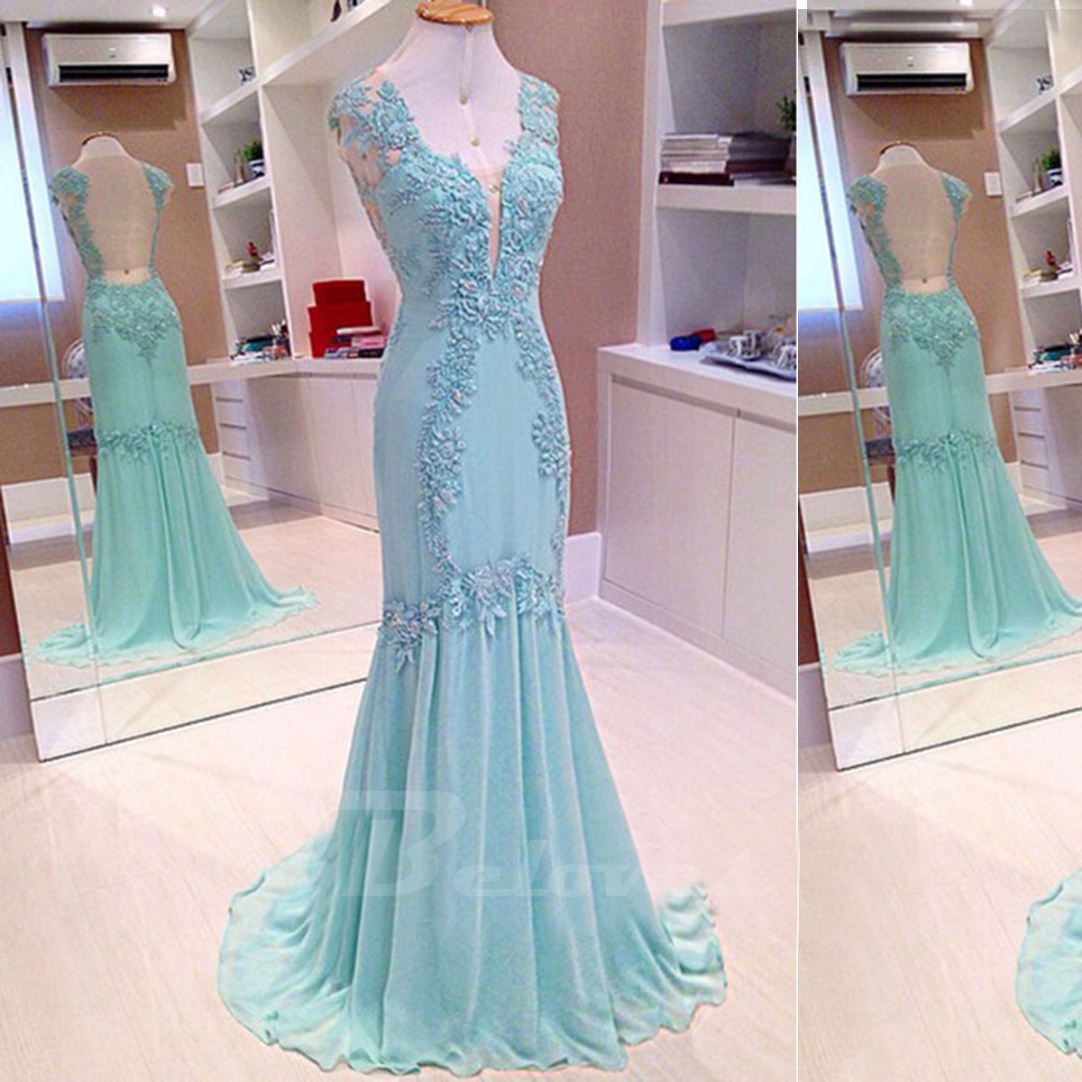 Ice Blue Chiffon V Neck Evening Gown With Lace Appliques And Sheer ...