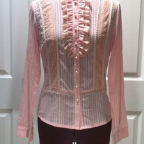 S pink lace long sleeve button up shirt victorian blouse rockabilly top