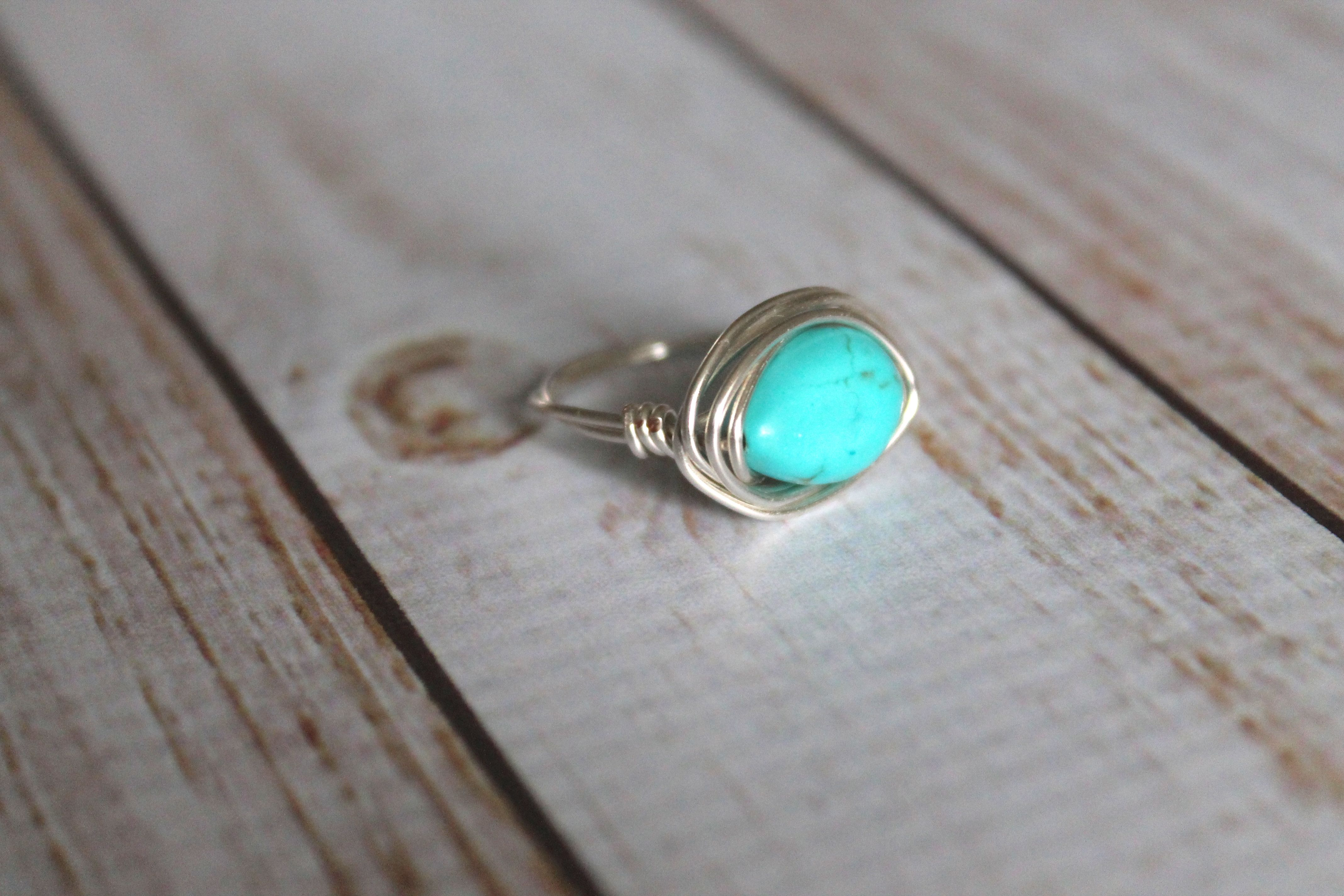 Turquoise Teardrop Magnesite Silver Ring | Wire Wrapped Ring | Stone ...