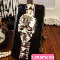 New Chic Bling Sparkle Silver Skull Studded iPhone Case