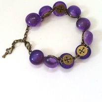 two-sided glass purple marble key bronze metal link gothic cross bracelet