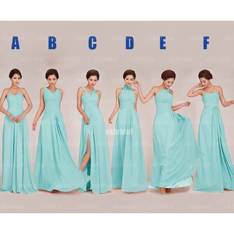 Tiffany blue bridesmaid dresses, long bridesmaid dresses, mismatched ...
