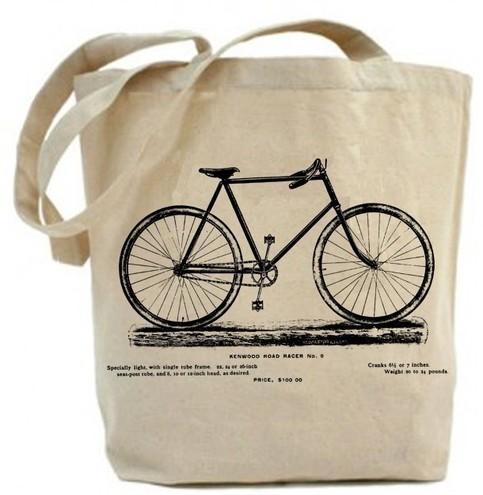 Vintage Bicycle Tote Bag Canvas Tote Bag Recycled On