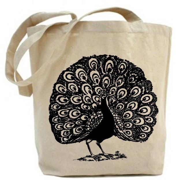 Dancing Peacock Eco Friendly Tote Bag Canvas Tote Bag